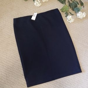Navy Blue Textured pull-on Pencil Skirt - M